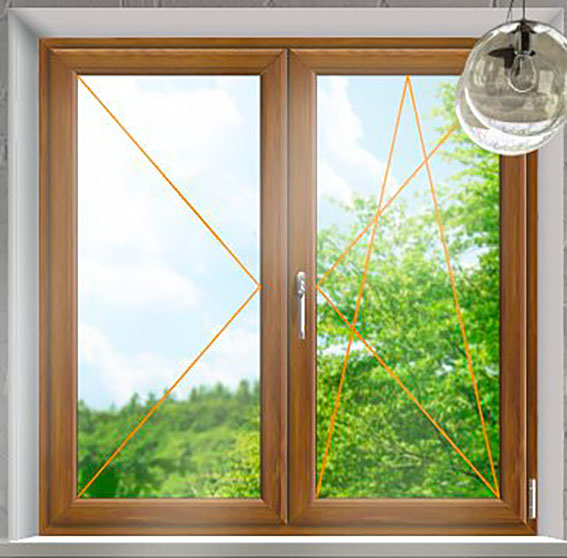 Plastové okno Rako, dvoukřídlé zlatý dub