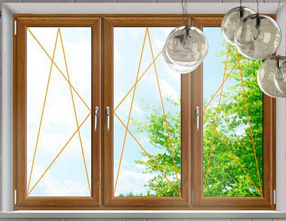 Plastové okno Rako, Trojkřídlé zlatý dub