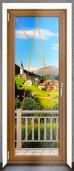 Balkonové dveře Rako, dekor zlatý dub