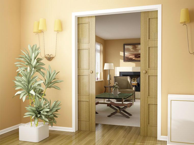 Systém symetrického dovírání dvoukřídlých dveří